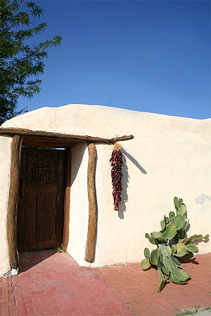 Mesilla, New Mexico - Mesillan adobe house, with decorative ristra