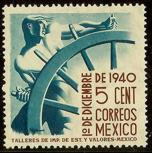 "Art Deco stamps - Mexico 1940, ""Helmsman"" by Francisco Eppens"