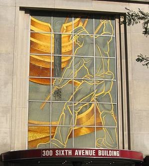 A wrought iron life-size facade of legendary steelworker Joe Magarac in downtown Pittsburgh