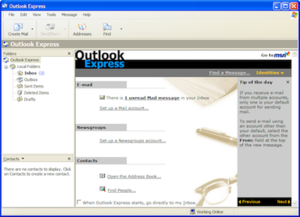 Screenshot of Outlook Express in Windows XP
