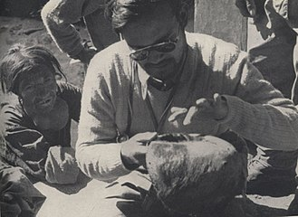 Yeti - Dr. Biswamoy Biswas examining the Pangboche Yeti scalp during the Daily Mail Snowman Expedition of 1954