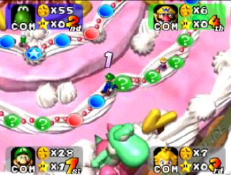 "Mario Party - Luigi navigating the ""Peach's Birthday Cake"" board in the original Mario Party game"