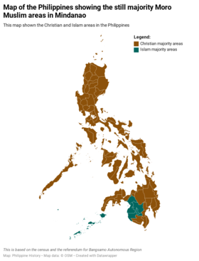 Philippine map showing the areas with majority Christians and islam.png