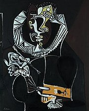 The Portrait of a Painter after El Greco (1950, oil on plywood, 100.5×81cm, Angela Rosengart Collection, Lucerne) is Picasso's version of the Portrait of Jorge Manuel Theotocopoulos.