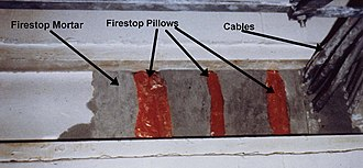 "Firestop pillow -  Firestop pillow: Firestop pillows and firestop mortar used in combination at a telephone exchange in California. The pillows are used as ""soft spots"" to enable faster re-entries of new cables."