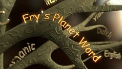 "The title card for Fry's Planet Word. A series of tree branches have the names of languages such as ""Dutch"", ""English"", and ""Germanic"" are seen along background branches and ""Fry's Planet Word"" is in the foreground."