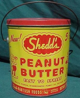 Peanut butter - An antique Shedd's Peanut Butter tin. Shedd was an American brand which was discontinued in the 1980s.