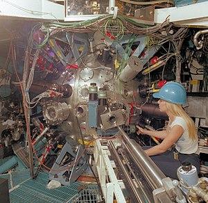 Shiva laser - Shiva target chamber during maintenance.