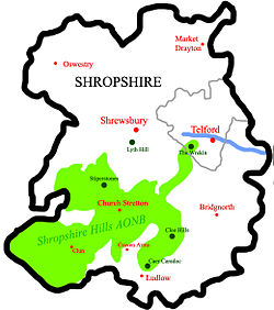 The Wrekin shown in relation to other geographical features in Shropshire.