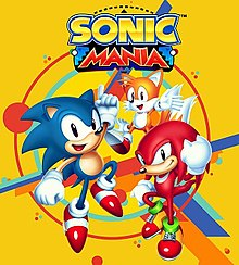"The official art of Sonic Mania. It shows Sonic, a cartoonish blue hedgehog with red shoes; Tails, a cartoonish, yellow, two-tailed fox; and Knuckles, a cartoonish red echidna with big fists against a yellow background. The words ""Sonic Mania"" are seen above the characters."
