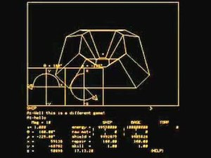 Spasim - Screenshot of gameplay; the screen at the top shows the player's view of a space station, while the bottom half of the screen displayed details about the ship's position and direction.