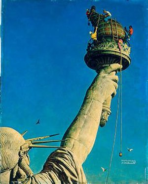 Working on the Statue of Liberty - Image: Statue Of Liberty Normal Rockwell