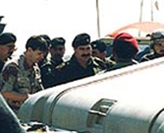 Rick Francona - Rick Francona with Iraqi Lt Gen Sultan Hashim Ahmad at Gulf War ceasefire talks, Safwan, Iraq, March 3, 1991