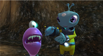 The Maw (video game) - In The Maw characters Frank (right) and The Maw (left) must team up to escape capture from bounty hunters.
