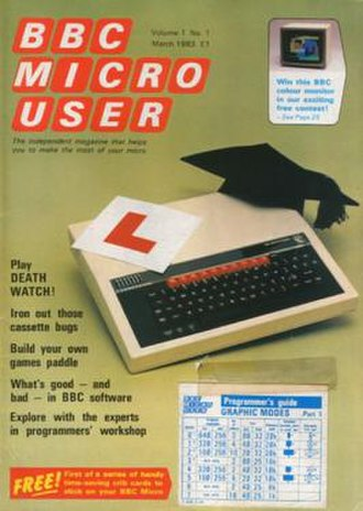 The Micro User - The Micro User issue 1, cover dated March 1983.  A reference sticker of the BBC Micro's display modes was mounted on the cover.