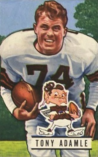 Tony Adamle - Adamle on a 1951 football card