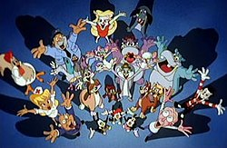 Animaniacs had a wide cast of characters. Shown here is the majority of the characters from the series.