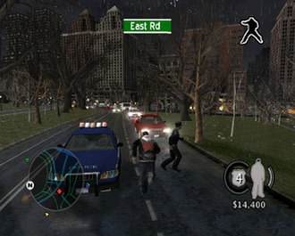 True Crime: New York City - Basic gameplay in the PlayStation 2 version of the game. The HUD shows the mini-map on the bottom left, Marcus' funds, rank and health on the bottom right, and his current fighting style on the top right.