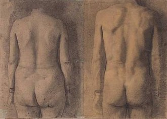 Antonio López García - Two Backs (Male-Female), pencil on paper, 38cm x 54cm, 1964 by Antonio López García