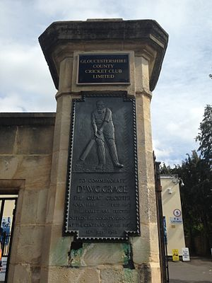 Gloucestershire County Cricket Club - A tablet of W.G. Grace at the Grace Gates of the Bristol County Ground