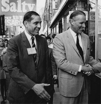 Francis Sargent - Governor Francis W. Sargent (right) supporting William L. Saltonstall (left) during his campaign for the U.S. Congress, in Haverhill, 1969