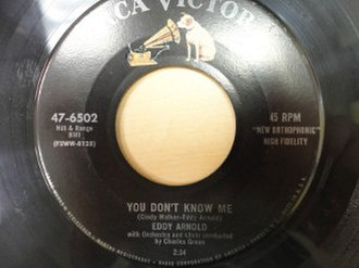 You Don't Know Me (Eddy Arnold song) - Image: You Don't Know Me cover art