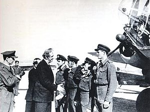 13th Light Bomber Squadron - Crew of the Squadron on the day of repatriation to Greece, welcomed by the Greek Prime Minister Georgios Papandreou.