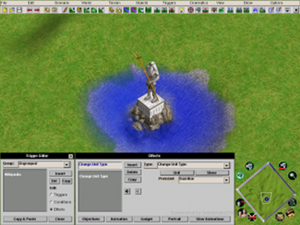 """Age of Mythology - The Age of Mythology scenario editor: visible is a large statue surrounded by deep water and the """"rotate camera angle"""" controls, which allow for construction of more complex custom scenarios."""