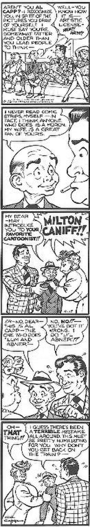 "Al Capp - ""I do Li'l Abner!!,"" a self-portrait by Al Capp, excerpted from the April 16–17, 1951 Li'l Abner strips. Note the reference to Milton Caniff."