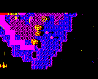 Firetrack - Firetrack on the BBC micro showing landscape, explosions and enemies, with player ship to lower left