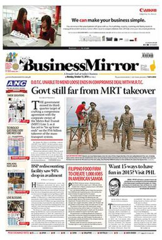 BusinessMirror - Front page of the newspaper on October 13, 2014