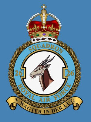 History of the South African Air Force - The crest of No. 26 Squadron RAF depicting a Springbok head and Afrikaans motto