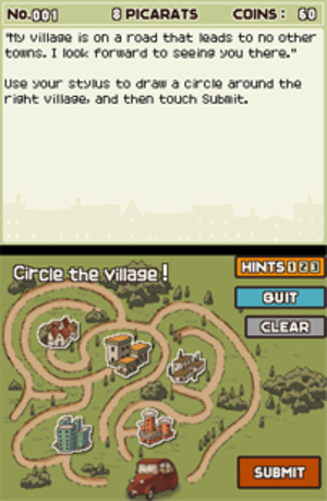 Professor Layton and the Curious Village - An early puzzle in Professor Layton and the Curious Village. The puzzle is solved via input on the bottom screen, while the instructions are on the top.