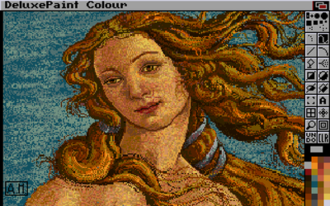 "Deluxe Paint - Deluxe Paint V on the Amiga, showing the ""Venus"" picture (a detail from The Birth of Venus by Sandro Botticelli), included with the program as a sample picture"