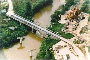 Mabey Logistic Support Bridge - 98m bridge built by the Romanian Engineer Battalion. The bridge was completed on 6 July 1996. Construction time 6 days Loading MLC60.