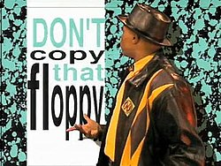 """MC Double Def the """"Disk Protector"""" in the """"Don't Copy That Floppy"""" video."""