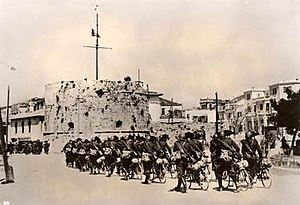Italian invasion of Albania - Italian soldiers entering the city of Durrës on 7 April 1939 after resistance of Mujo Ulqinaku and Royal Albanian Army