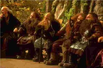 Dwarf (Middle-earth) - Dwarves at the Council of Elrond in Peter Jackson's The Lord of the Rings: The Fellowship of the Ring.