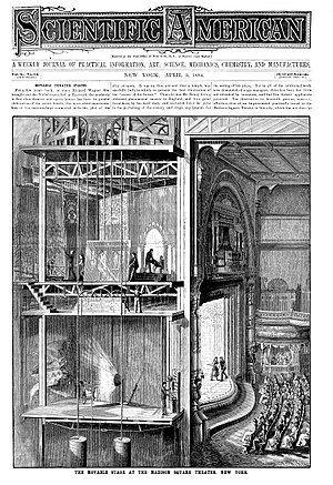 Theatrical scenery in the nineteenth century - THE MOVABLE STAGE AT MADISON SQUARE THEATER, NEW YORK