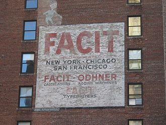Facit - Old brick advert of Facit-Odhner, New York. (Facit-Odhner was a sub-sidiary of Facit)