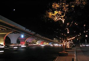 Transport in Hyderabad - The Telugu Talli flyover lit up at night