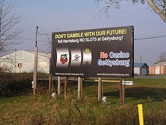 American Battlefield Trust - A billboard drawing attention to the proposed casino at Gettysburg