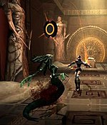 Two video game characters fight in a brown-colored room with mystical symbols.