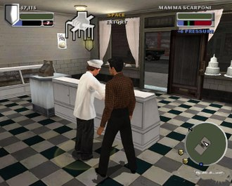 The Godfather (2006 video game) - The intimidation mechanic in The Godfather. Note the multicolored bar on the top right. The blue meter represents the current level of intimidation. The green line represents the point at which the shopkeeper will agree to pay protection money. The red area indicates the level of intimidation at which the shopkeeper will fight back.