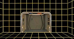 Holodeck - A vacant holodeck on the ''Enterprise''-D; the arch and exit are prominent.