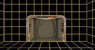 Holodeck - A vacant holodeck on the Enterprise-D; the arch and exit are prominent.
