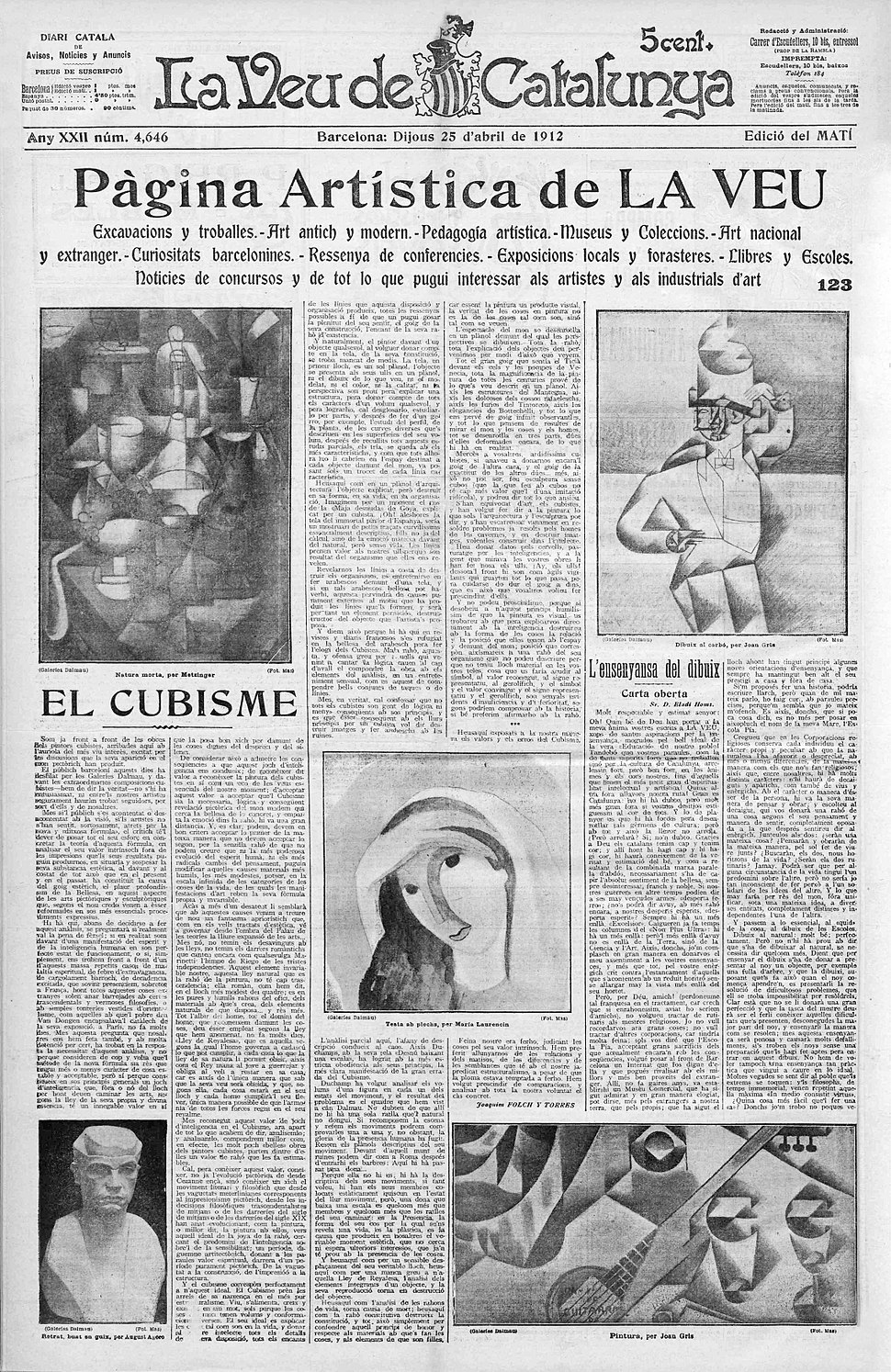Jean Metzinger, Juan Gris, Marie Laurencin, August Agero, Veu de Catalunya, 25 April 1912