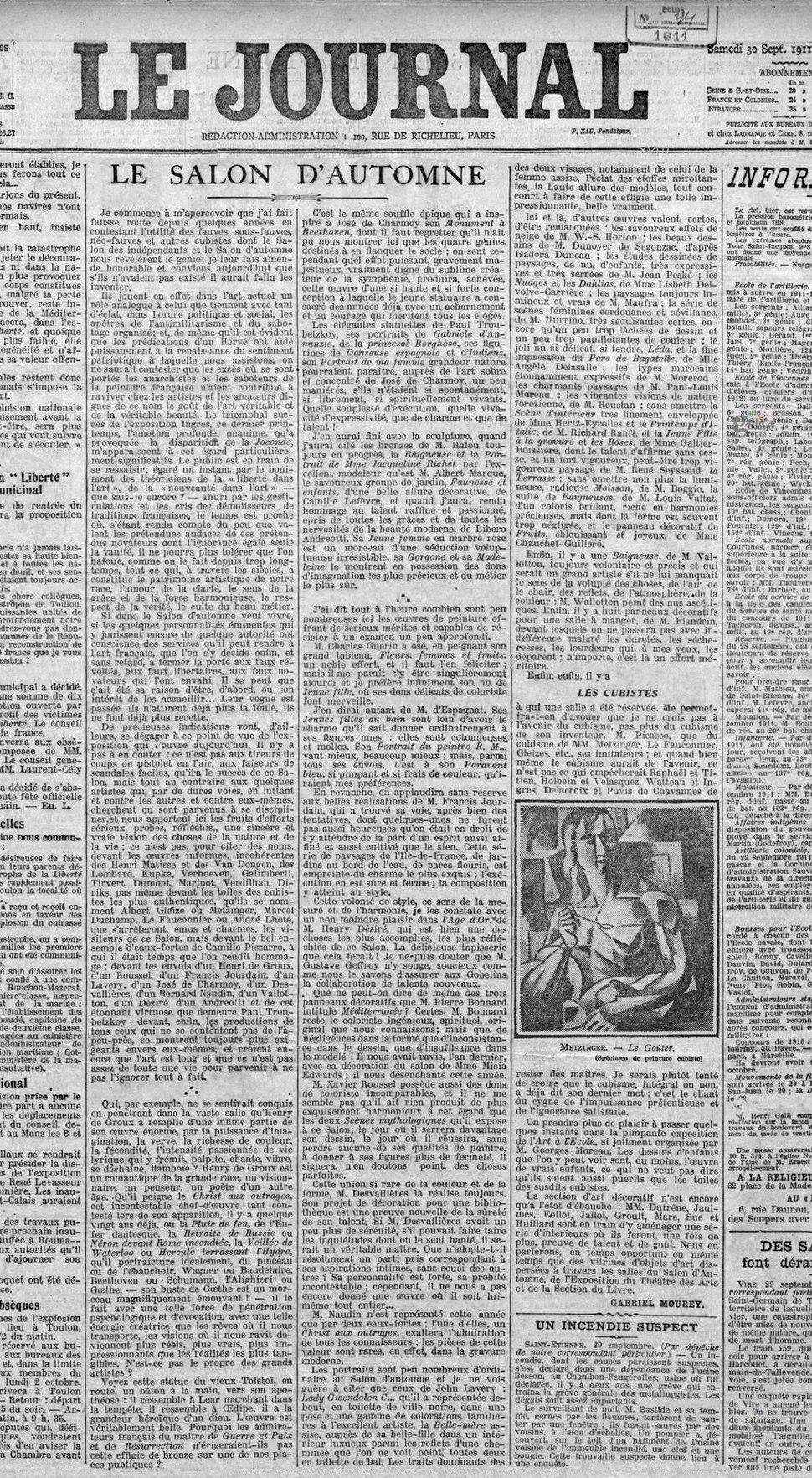 Jean Metzinger, Le Goûter (Tea Time), published in Le Journal, 30 September 1911
