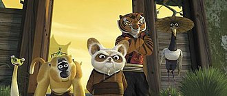Kung Fu Panda - From left to right: Viper, Monkey, Mantis (on Monkey's head), Shifu, Tigress, and Crane. The Furious Five are homages to the actual Snake, Monkey, Praying Mantis, Tiger, and Crane styles of Chinese martial arts.