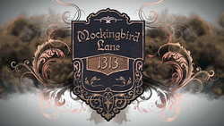 Title card, showing a house sign reading 1313 Mockingbird Lane